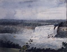 """View from the Bank above Table Rock, Niagara Falls,"" William Dunlap, 1815, watercolor on wove paper, 8 7/8 in. x 11 1/8"", Addison Gallery of American Art."