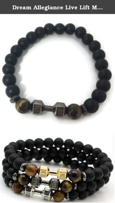 Dream Allegiance Live Lift Matte Black Dumbbell Fashion Bracelet (Black). - Fashionable Men and Women Dumbbell fitness bracelets - Stretches to fit any size wrist - Durable to wear during workouts - Keeps you on track of your fitness goals - Wear with an clothes, stylish and flashy - Very comfortable on your wrist.