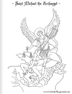 Saint Michael the Archangel Catholic coloring page: Feast day is September 29th |