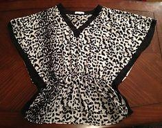 100% Silk Leopard Tunic! Hi-Low Hem! $24