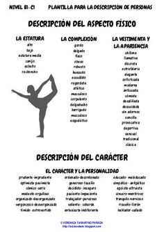 Template for the description of people - Template for the description of people - Writer Tips, Book Writing Tips, Writing Process, Writing Skills, Spanish Vocabulary, Spanish Language Learning, Teaching Spanish, Examen Oral, Spanish Classroom Activities