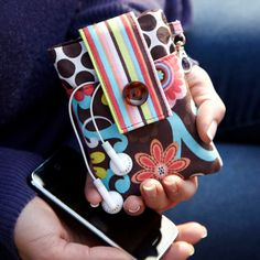 cute iPhone case with pocket for earphones and stuff $18