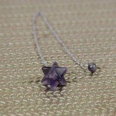Amethyst Merkaba Star Pendulum – Crystal Spirits Arrow Necklace, Amethyst, Contentment, Migraine, Chain, Crystals, Stars, Tool Kit, Nervous System