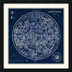 World Menagerie Celestial Blueprint Framed Graphic Art