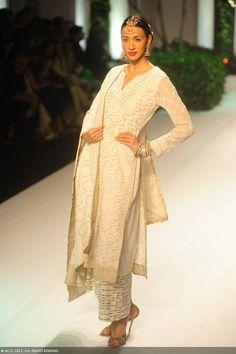 A model showcases a creation by designer Meera Muzaffar Ali at India Bridal Fashion Week (IBFW) 2013