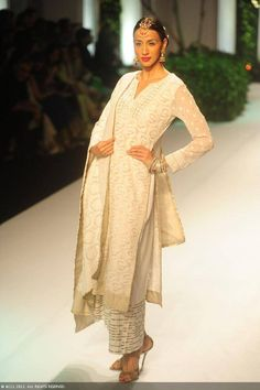 A model showcases a creation by designer Meera Muzaffar Ali at India Bridal Fashion Week (IBFW) 2013
