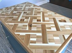 Tips and how to video for this beautiful DIY Wood Mosaic Table Top. These steps can be used to make this as geometric wood wall art too! Wood Mosaic, Mosaic Diy, Diy Furniture Plans, Furniture Makeover, Scrap Wood Art, Old Kitchen Tables, Table Top Design, Wood Table, Woodworking Projects