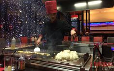 The #teppanyaki chef working at the hot plate during a visit to Kobee, Dundee. It was something to watch and a style of cooking that everyone must try, especially if you like your Japanese food.