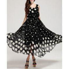 Black Chiffon Maxi Dress With White Dot Sexy Dresses, Beautiful Dresses, Evening Dresses, Fashion Dresses, Summer Dresses, Summer Maxi, Casual Dresses, Spring Summer, Summer Fresh