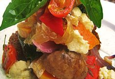 Roasted Vegetables Photo : Jackie Cameron Roasted Mediterranean Vegetables, Roasted Vegetables, Veggies, Caramelized Onions, Cream Recipes, Coriander, Vegetable Recipes, Potato Salad, Zucchini