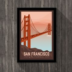 This poster takes you straight to the Golden Gate Bridge in beautiful San Francisco, California. Escape the city's ever-present tech scene to a scenic place where you can forget about your worries, if even for a little while. This poster is the perfect gift for the San Franciscan in your life! _...