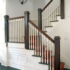 Dark Wood Trim Living Room Newel Posts 33 New Ideas Stairs, Handrail Design, Home, Custom Homes, Stair Banister, Remodel, Banister Remodel, Craftsman House, Newel Posts