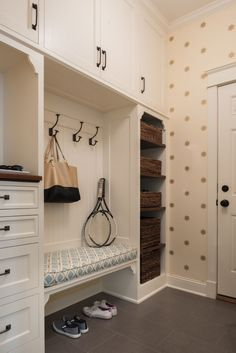 Beadboard Trim on Back of Mudroom Bench - Transitional - Laundry Room Entryway Closet, Hallway Storage, Room Closet, Entryway Decor, Closet Storage, Entryway Hooks, Storage Hooks, Entryway Ideas, Hallway Ideas