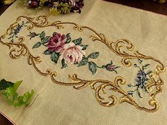 """34"""" Vintage PREWORKED Needlepoint Canvas ~White Mauve Roses Piano Bench Cover 