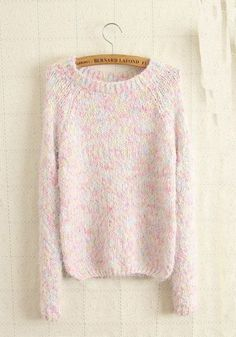 Pink Colorful Irregular Round Neck Wool Blend Sweater