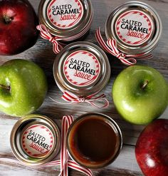 Salted Caramel Sauce Recipe & Printable Labels ...  Gift idea is to put the jar in a festive box or bag, along with 2 red apples and 2 green apples for dipping.  It can also be used as a dessert sauce for ice cream, and it would make a fabulous Salted Caramel Milkshake too. Teachers Gift?