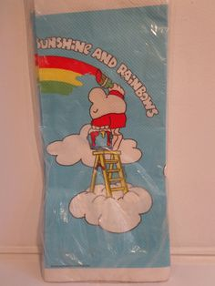 80's Cartoon Ziggy Sunshine & Rainbows Paper Tablecloth by American Greetings New In Package