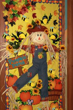 Fall bulletin board: incorporate a real scarecrow; add a crow puppet. Art projects: fall leaves w/ kids names; make stick puppet scarecrowsFall Bulletin Boards For Quotes by /quotesgram/Discover and share Fall Bulletin Boards For Quotes. Halloween Classroom Door, Fall Classroom Decorations, Halloween Bulletin Boards, School Door Decorations, Preschool Bulletin Boards, Minion Halloween, Thanksgiving Door Decorations, Halloween Door, Thanksgiving Bulletin Boards