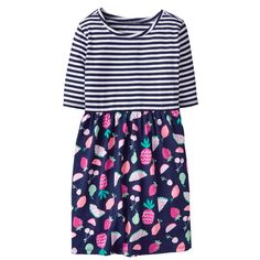 Girl Gym Navy Fruit Twofer Dress by Gymboree Toddler Outfits, Kids Outfits, Cute Girl Dresses, Tiered Dress, Striped Tee, Gymboree, Ruffle Dress, Brown And Grey, Cute Girls