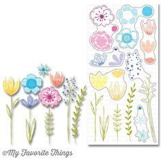 Sketched Blooms 2 stamp set in use #mftstamps