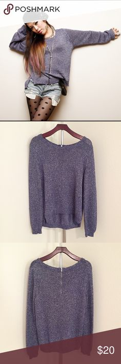 H&M Metallic Purple Sweater Size 10, but it fits like 4. Little spot around front collar. ( see on the pic ) H&M Sweaters Crew & Scoop Necks