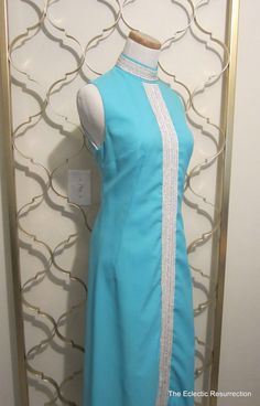 Vintage Mod Maxi Dress-Aqua & Silver by on Etsy Vintage Clothing, Vintage Outfits, Ceremony Dresses, 60s Style, Retro Fashion, 1960s, Aqua, Shops, Memories