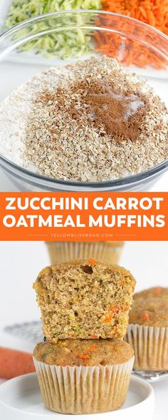 Zucchini Carrot Oatmeal Muffins, made with whole wheat and golden raisins, are the perfect option for a healthy, wholesome and delicious breakfast or snack. (Baking Zucchini For Baby) Zucchini Muffins, Muffins Blueberry, Oatmeal Muffins, Oatmeal Raisins, Vegan Muffins, Zucchini Bread, Mini Muffins, Clean Eating Snacks, Healthy Snacks