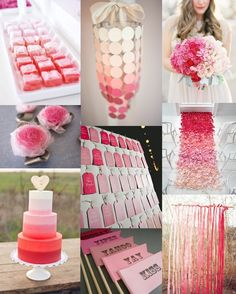 Pink ombre inspiration - from cakes to flowers to wedding decor, but in varying shades of aqua to turquoise