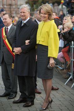 King Philippe and Queen Mathilde of Belgium visit Cerfontaine on 19.11.2014 in Namur, Belgium.