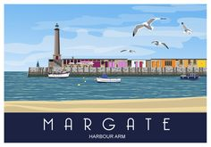 Margate Harbour Arm, Landscape. Railway Style Seaside Poster. A4, A3, A2 by WhiteOneSugar on Etsy https://www.etsy.com/listing/258781634/margate-harbour-arm-landscape-railway