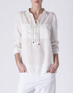 Camisa fluida cordones | SHOP ONLINE SUITEBLANCO.COM