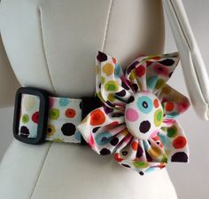 Dog Collar Set with Flower or Bow Tie. Cute pattern