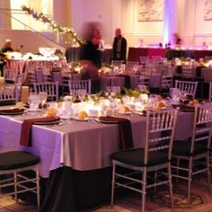 Purple dominates in this modern holiday party.