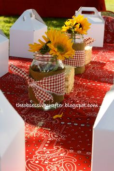 centerpieces for a barnyard bash of a 1st birthday. Definitely a farm theme going on for Lizzy's birthday this year