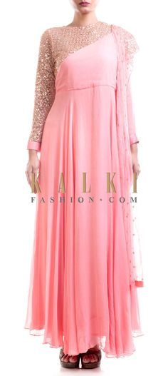 Buy Online from the link below. We ship worldwide (Free Shipping over US$100) Price- $259 Click Anywhere to Tag http://www.kalkifashion.com/pink-suit-with-embellished-dupatta-and-asymmetric-yoke.html