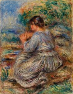 """Details of the print product Start becoming a collector of European art from the 20th century and assemble your very own collection with this replica of modern art. """"Girl Seated in a Landscape (Young girl sitting in a garden)"""" is a modern art painting first by the modern artist Pierre-Auguste Renoir in 1914 and has been chosen by the team of curators as part of our Artprinta visual art gallery.   Article specs          Article classification: art reproduction   Reproduction method: digital repr Pierre Auguste Renoir, Canvas Paper, Oil On Canvas, Canvas Size, August Renoir, Renoir Paintings, Barnes Foundation, Modern Art Paintings, Artwork Display"""