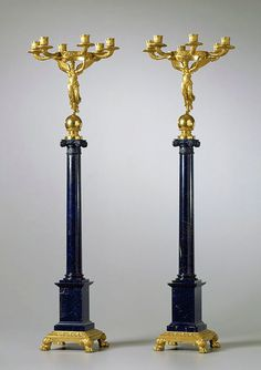 Candelabra. As those used in the Winter Palace of Saint Petersburg, these candlesticks 19th century and 104 cm length representing the Greek goddess of victory that is above the column of lazurite.