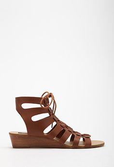 PEDIDOS SOLO POR ENCARGO #Forever21 Código: FS-25 Lace-Up Wedge Gladiator Sandals  Talla: 6-7-8-9 Color: Chesnut Precio: ₡30.500 ($56,80)  Información y consultas llamar al teléfono 8963-3317, escribir al inbox o al email maya.boutique@hotmail.com.