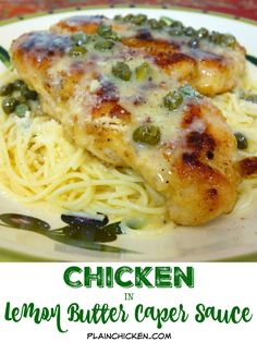 Chicken in Lemon Butter Caper Sauce - restaurant quality! You'll be blown away after one bite! Sautéed chicken, pasta and a quick homemade lemon butter caper sauce. Ready in 15 minutes! Lemon Butter Caper Sauce, Lemon Caper Chicken, Lemon Butter Chicken, Chicken Recipes Capers, Chicken Piccata Easy, Chicken Cutlet Recipes, Pasta Recipes, Dinner Recipes, Cooking Recipes