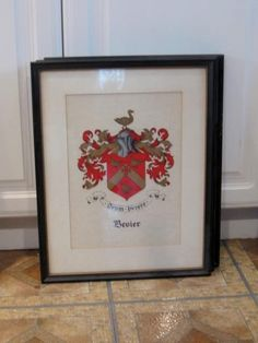 Vintage Family Crest Coat of Arms Framed Art work by jonscreations, $55.00