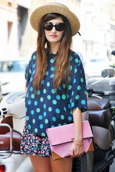 Combine patterns: dots & floral <3