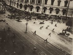 Russian Revolution, 1917. Russian troops firing on demonstrators with machine guns, June 4, 1917, by Karl Karlovich Bulla At least 700 people were killed or wounded....while Lenin went into hiding. This is significant because it shows the political tension of Russia at the beginning of the twentieth century. It shows how the military treated its people and that demonstrators are unhappy with their current state (poverty and limited rights).