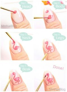 Flamingo diy nail art