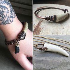 Rustic Jewelry handmade with real antlers Deer Antler Jewelry, Antler Art, Rustic Jewelry, Handmade Jewelry, Man Bracelet, Deer Necklace, Antler Crafts, Spoon Jewelry, Mixed Media Jewelry