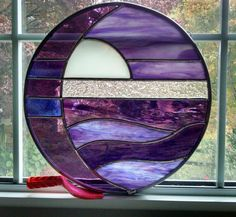 Moon and Sun Over Water Round Stained Glass by StainedGlassYourWay