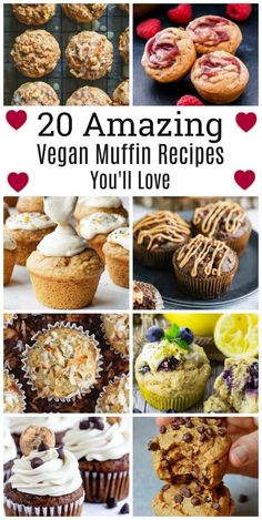 Here's 20 Amazing Vegan Muffin Recipes You'll Love! Muffins are always welcome, especially when they're made with love from the heart! Perfect for snacking, breakfast and even gifting a batch of freshly home-made muffins to the ones you love! Peanut Butter Muffins, Peanut Butter Desserts, Vegan Banana Muffins, Cherry Muffins, Vegan Dessert Recipes, Vegan Snacks, Sweet Potato Muffins, Vegan Pumpkin, Recipes