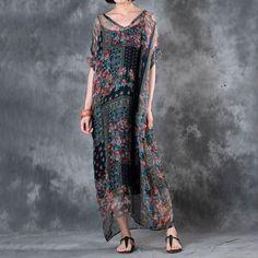 Floral V Neck Printing Women Summer Dress