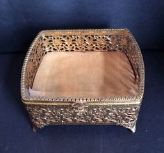Vintage Filigree Jewelry Box - 1950s Beveled Glass Top  Jewelry Casket / Vanity Trinket Box SALE on Etsy, $45.00