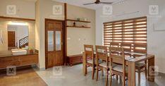 ഡൈനിങ്ങിൽ നിന്നും സ്ലൈഡിങ് ഗ്ലാസ് വാതിൽ വഴി കോർട്യാർഡിലേക്കിറങ്ങാം. ജിഐ വർക്കും മുകളിൽ ടഫൻഡ് ഗ്ലാസുമിട്ടാണ് ഇവിടം സുരക്ഷിതമാക്കിയത് Kerala Traditional House, Kerala House Design, Kerala Houses, House Plans, Interior Decorating, Sweet Home, Architecture, House Styles, Furniture