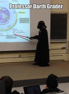 Professor Darth Grader teaching class.